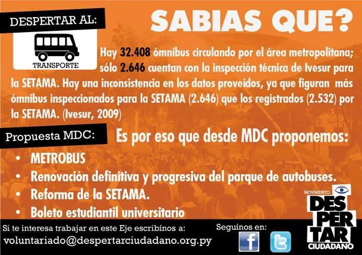 Flyer publicado por el movimiento Despertar Ciudadano en su fanpage con datos de la situación del Transporte Publico