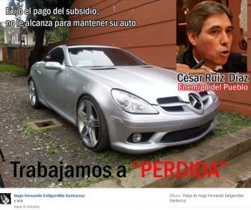 Poster que circula en Facebook en repudio a Cesar Ruiz Díaz, titular de CETRAPAM