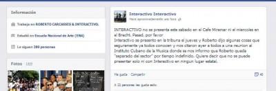 Declaraciones de Interactivo en su perfil de Facebook