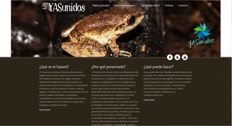 Captura de pantalla de la web Yasunidos.org.