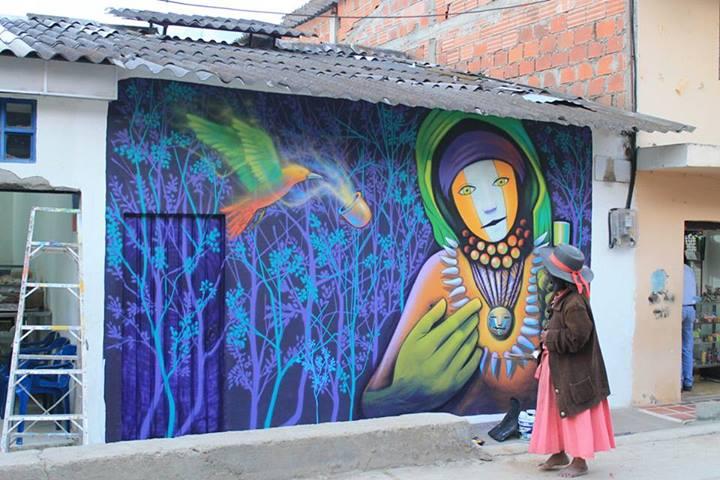 Mural en Toribio, Cauca. Foto compartida por Minga de Muralistas de los Pueblos en Facebook.