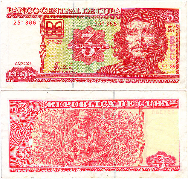 Three Cuban pesos. Image taken from Wikipedia under a fair use license.