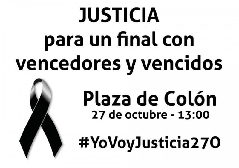 Convocatoria para la manifestación del domingo, publicada en la página de la Asociación de Víctimas del Terrorismo en Facebook