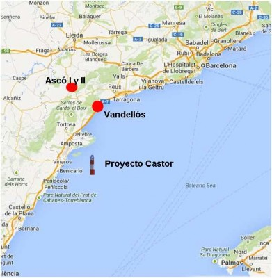 Location of the Castor project and the Vandellós nuclear centers and Ascó I and II. Image from Google Maps.
