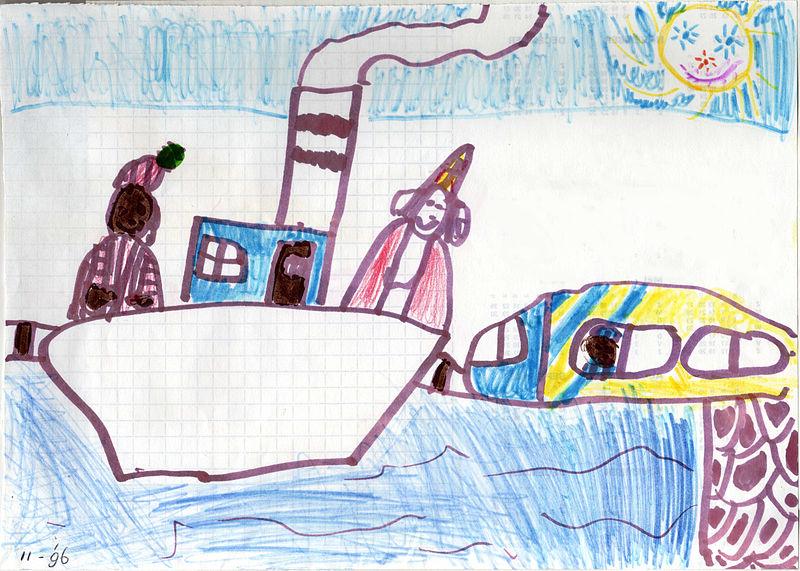 Dibujo infantil que representa a San Nicolás y Zwarte Pete. Imagen de Vera de Kok en Wikimedia Commons con licencia CC by SA 3.0