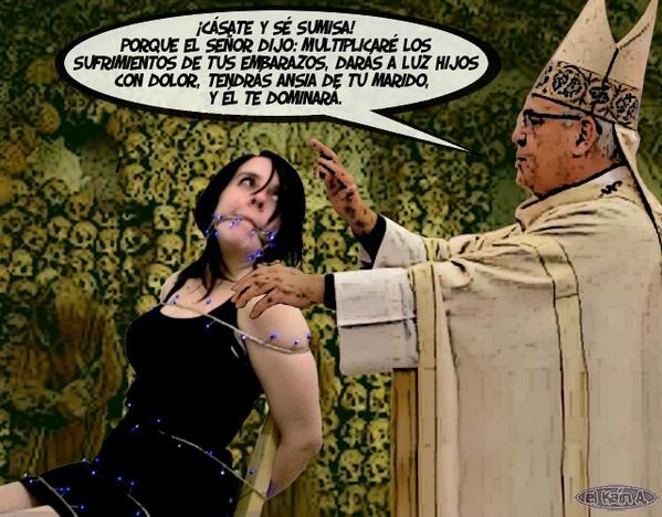 Imagen subida a Twitter por El Caín con el comentario: «Mujer, ¡CÁSATE Y SÉ SUMISA! Misoginia subvencionada con dinero público»