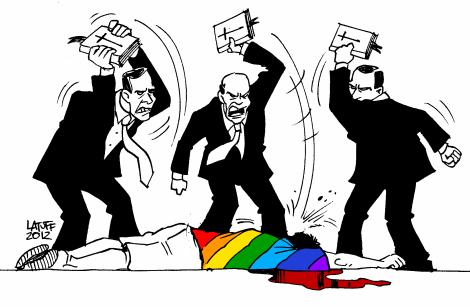 Vignette de Carlos Latuff postée sur Twitter par Álvaro Escudero. Libre de droits.