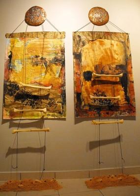 """Obras """"En tiempo de guerra y Daño colateral"""" de Luis Stephenberg Alers. Foto por Josué Guarionex."""