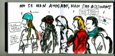 Dibujo de @Cuardernista de la concentración en Madrid