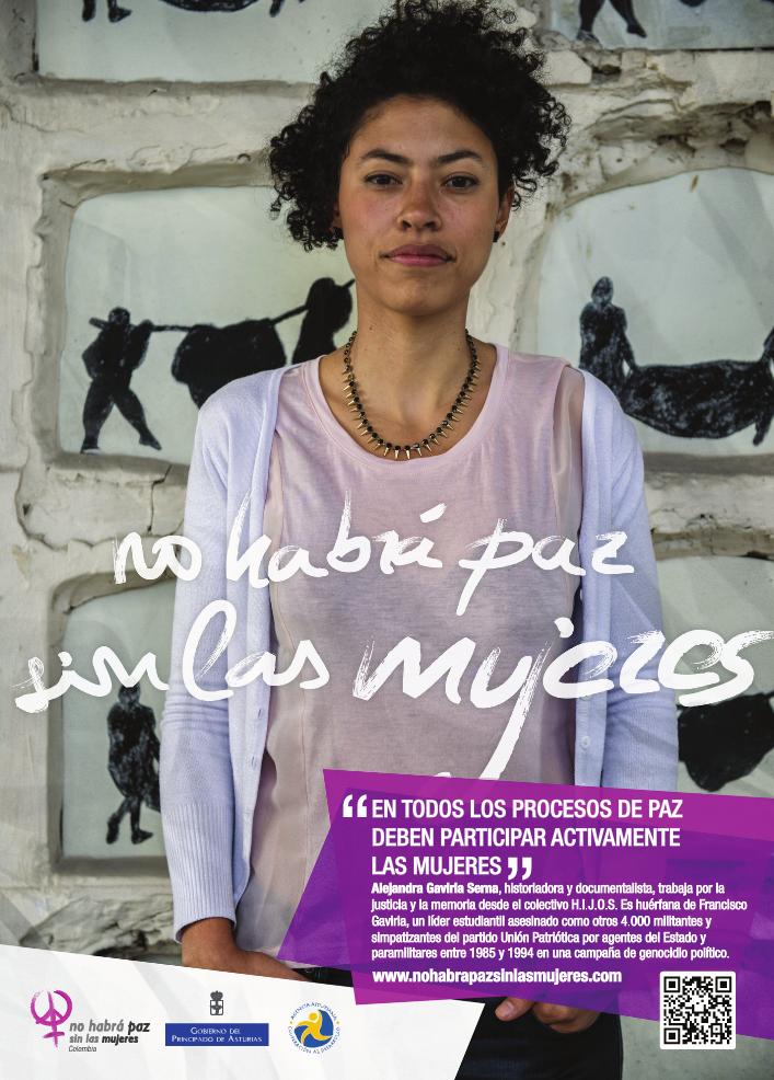 Historiadora, documentalista e integrante del colectivo H.I.J.O.S. Afiche del proyecto No habrá paz sin las mujeres.
