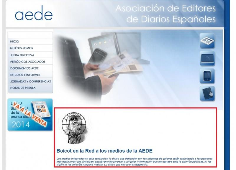 La web de AEDE, inoperativa a consecuencia de un ataque DoS de Anonymous. Foto de alt1040.com con licencia CC BY-NC 2.5