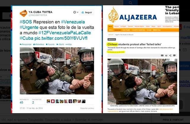 """Izquierda: Denuncia de """"represión"""" en Venezuela a cargo del usuario @YACUBATWITEA. Derecha: Imagen original publicada por AlJazeera sobre las protestas de Chile en 2012."""