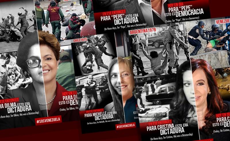 """Fotomontajes """"Las dos caras de los presidentes latinoamericanos"""""""