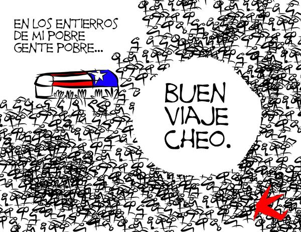 """""""Buen viaje, Cheo"""" del caricaturista Kike Estrada. Tomado de su página web Planeta Kike. Utilizado con su autorización."""