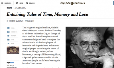 Fue tal la reacción de la muerte de Gabo, que incluso diarios como ガボの死に対する反応は非常に強く、ニュヨーク・タイムスといった新聞社さえ、サイト上にかなりのスペースを割いている。画像はニュヨーク・タイムス電子版より