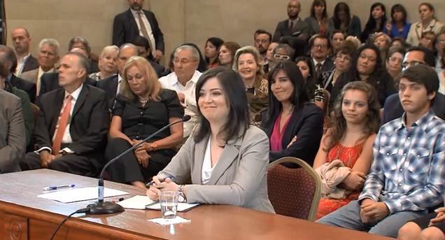 Maite Oronoz durante el proceso de confirmación en el Senado de Puerto Rico. Imagen tomada de video.