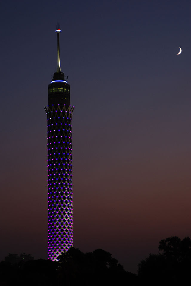 Cairo Tower in Egypt, where Sonia Ordóñez currently resides. Photo by Ahmend Santos from Wikipedia. CC BY-SA 3.0