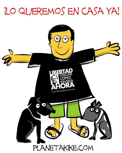 El caricaturista Kike Estrada es uno de varios artistas que se ha solidarizado con la lucha por excarcelar a Oscar. Imagen tomada de su página, Planeta Kike. Utilizada con autorización.