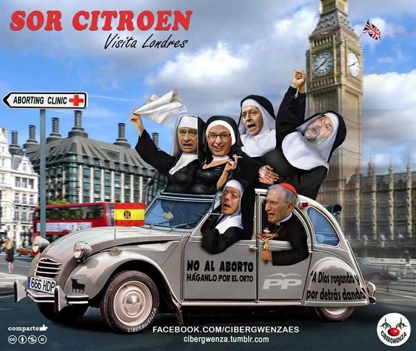 Rouco y varios ministros del PP en Londres, ciudad en la que abortaron miles de españolas antes de la ley de 1985. Imagen subida a Twitter por no_pasaran#
