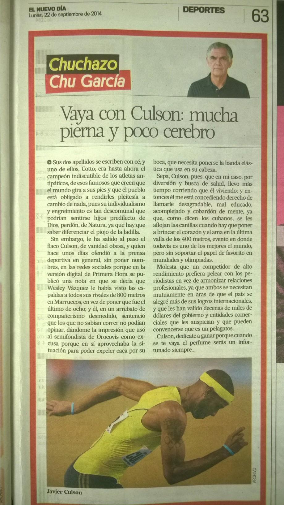 Columna de Chu García en El Nuevo Día, lunes 22 de septiembre de 2014, página 63. Imagen tomada por Ángel Carrión.