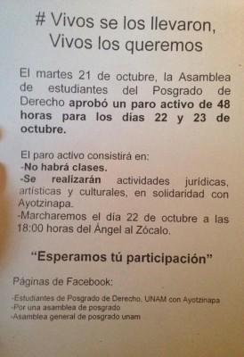 Comunicado de las acciones a emprender por la Facultad de Derecho con motivo del paro nacional. Foto cortesía de http://juantadeo.wordpress.com/