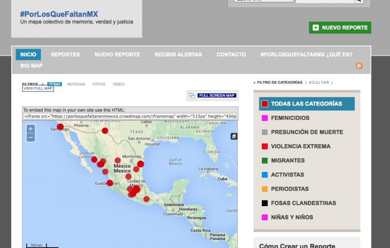 Captura de pantalla del mapa colectivo de memoria, verdad y justicia.