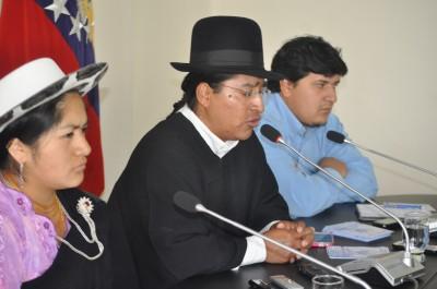 Ñusta Morocho vicepresidenta,  Eco. Patricio Lozano presidente del GAD parroquial San Lucas y Ing. Efrén González promotor social.