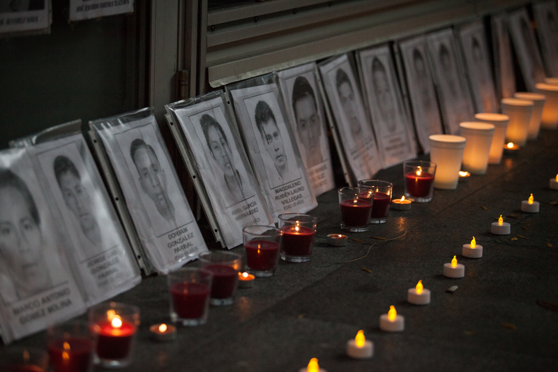 Fotografie některých ze 43 studentů, kteří 8. října zmizeli v mexickém státě Guerrero, autor fotografie Enrique Perez Huerta, copyright Demotix.