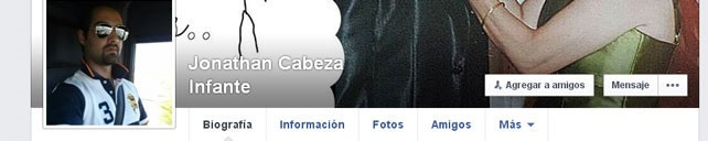 Captura del desaparecido perfil de Jonathan Cabeza Infante en Facebook. Imagen de la web #15Mpedia con licencia CC-BY-SA 3.0
