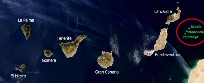 Zonas de las prospecciones. Imagen de Wikimedia Commons con licencia CC BY-SA 3.0, modificada por la autora.