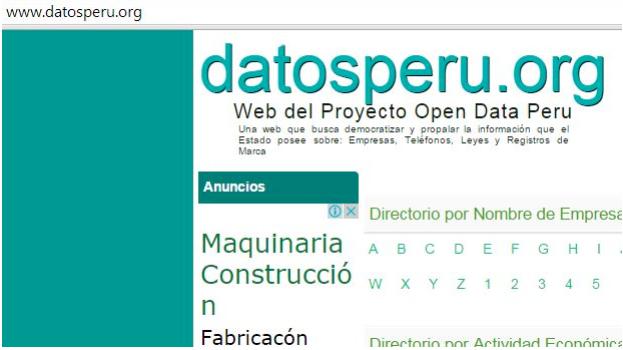 Captura de pantalla del sitio Datosperu cuando estaba en línea.