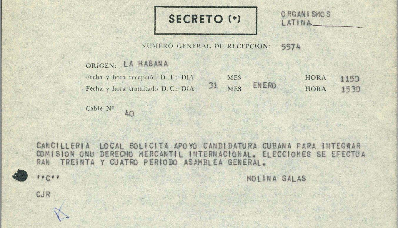 Captura de pantalla de uno de los 70 cables relativos a Cuba desclasificados por Argentina