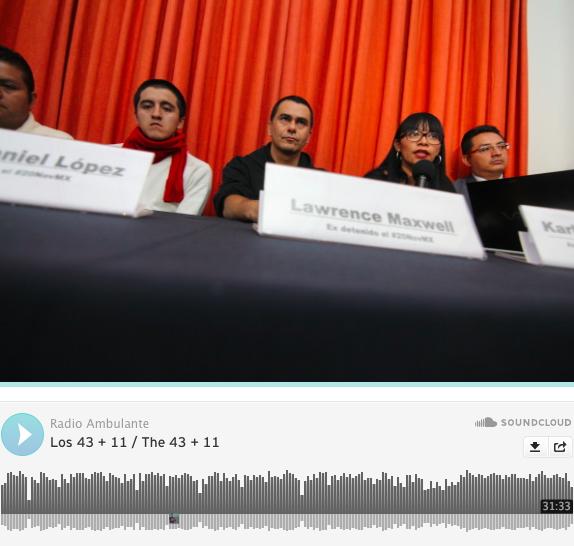 Captura de pantalla del sitio de Radio Ambulante con la entrevista a Lawrence Maxwell, chileno radicado en México que fue detenido durante las protestas por Ayotzinapa.