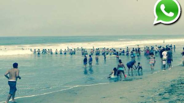アリカビーチでの人間の鎖。写真がツイッターで多くの人によってシェアされた。