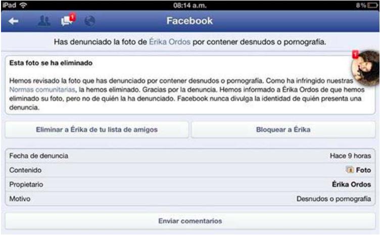 Captura de pantalla del proceso de denuncia de contenido pornográfico en Facebook. Compartido por Erika
