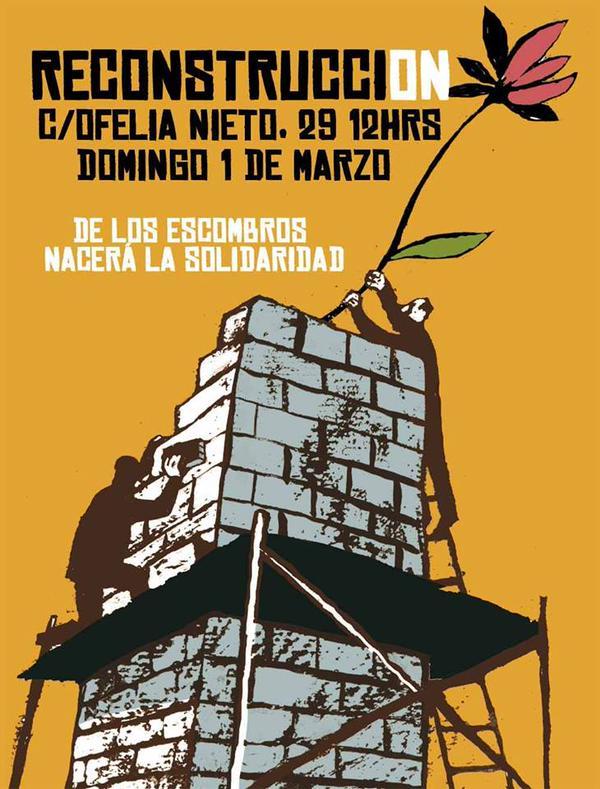 """""""De los escombros nace la solidaridad"""": el cartel de convocatoria para la reconstrucción de la vivienda derribad"""