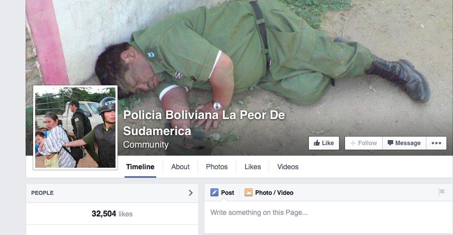 Imagen de la página de Facebook para denuncias contra la policía de Bolivia.