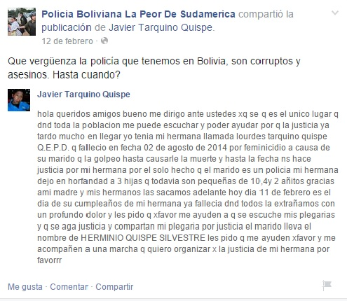"""Una de las denuncias que recibió la página en Facebook """"Policía Boliviana, la peor de Sudamérica""""."""