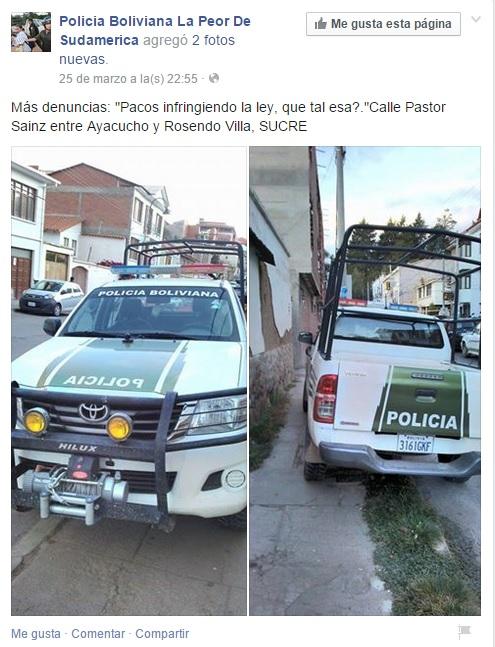 """Imágenes compartidas por usuarios de la página """"Policía Boliviana, la peor de Sudamérica"""" en Facebook."""