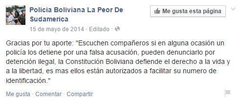 """Los consejos que miembros de la página """"Policía Boliviana, la peor de Sudamérica"""", comparten con otros usuarios a través de Facebook."""