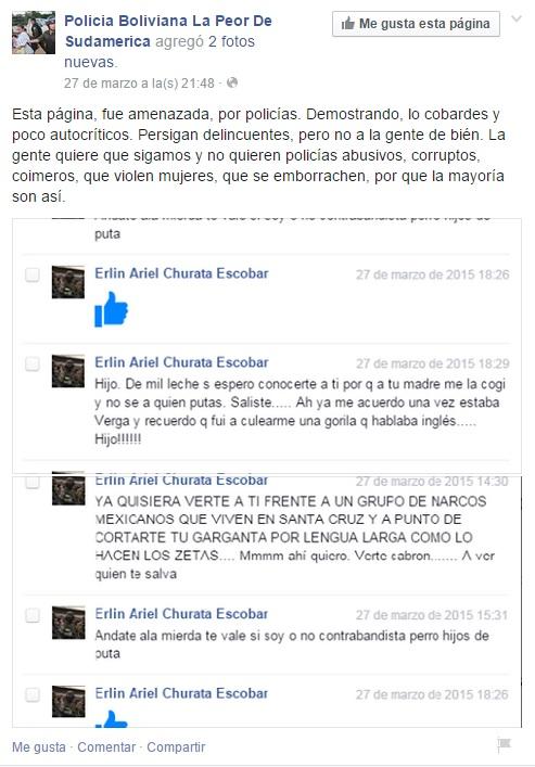 """Amenazas que reciben los administradores de la página """"Policía Boliviana, la peor de Sudamérica""""."""