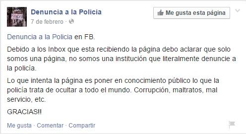 """Aclaración de los administradores de la página """"Denuncia a la Policía""""."""