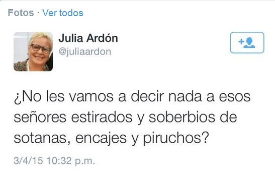 Captura de imagen del polémico tuit de Julia Ardón.