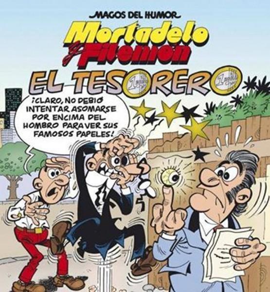 Portada del nuevo álbum de Mortadelo y Filemón, con referencias a los papeles de Bárcenas y a su famosa «peineta» a la prensa.  Imagen de Postdigital con licencia CC by-SA 4.0