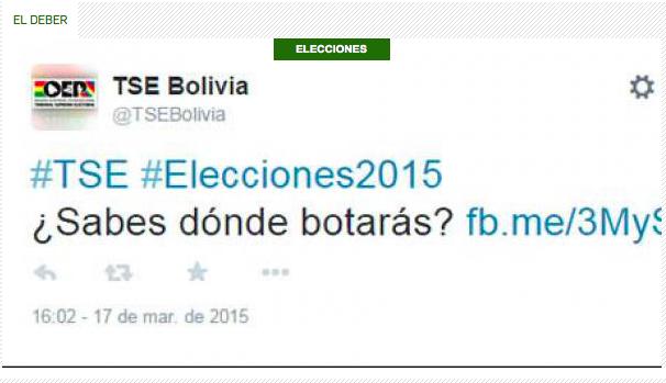 Captura de pantalla del tuit con error ortográfico que le costó el puesto al administrador de redes sociales del tribunal electoral boliviano.