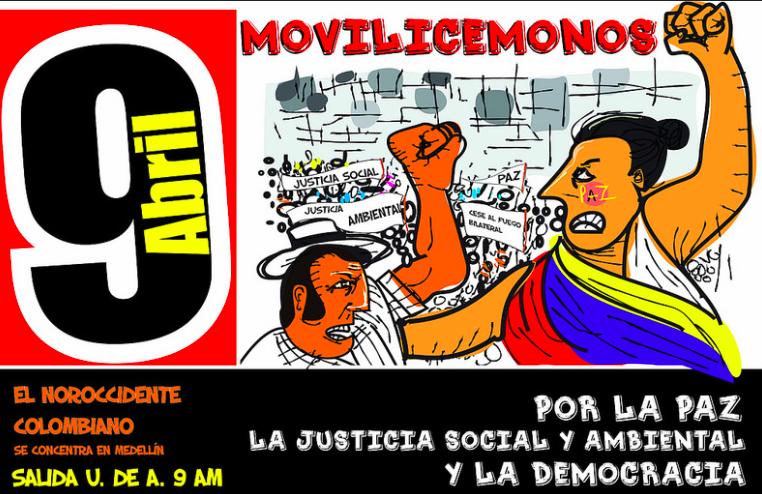 Invitación a la marcha por la paz del 9 abril en Colombia. Foto: gencia de Prensa Instituto Popular de Capacitación tomada bajo licencia Creative Commons.