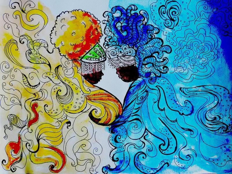 Oshun y Yemaya, las dueñas de las aguas. Obra de Annie Gonzaga Lorde. Reproducida con su autorización.