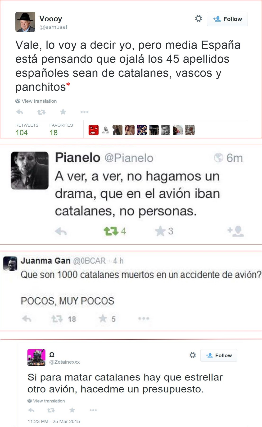 Capturas de tuits xenófobos, realizadas por la autora
