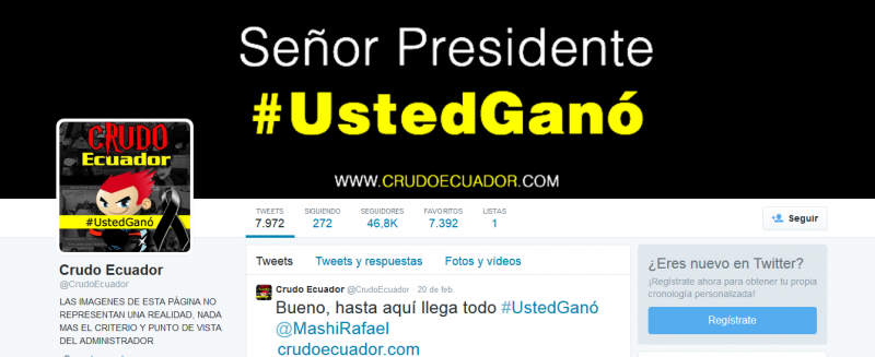 Tanto fue el acoso que sufrió el creador de Crudo Ecuador de parte del gobierno ecuatoriano por sus memes que decidió abandonar la sátira política. Crudo Ecuador se despidió de sus seguidores con el hashtag #UstedGanó, refiriéndose al presidente de Ecuador, Rafael Correa. Imagen tomada de la cuenta de Twitter de @CrudoEcuador.