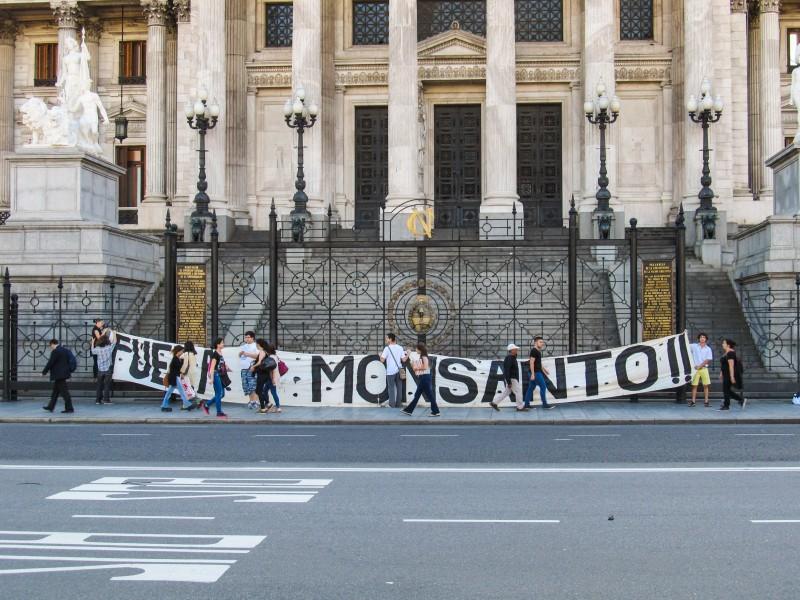 Protesta del año 2014 contra Monsanto en Buenos Aires. Fotografía tomada de Wikimedia Commons.